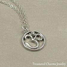 Silver Om Aum Necklace - Meditation Spiritual Buddhist Hindu Charm Pendant NEW