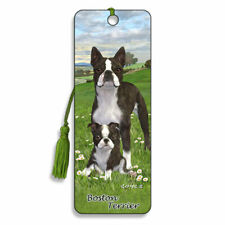 3D Bookmark Boston Terrier Small Dog Lover Gift Him Her Kids Puppy Animal Daisy