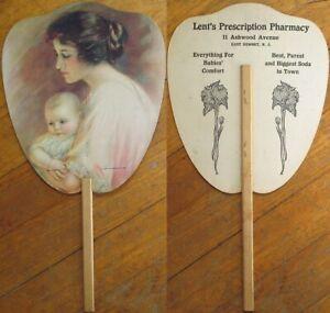 East Summit, NJ Pharmacy/Drug Store 1920s Advertising Fan - Lent's Prescription