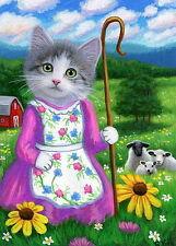 Kitten cat Little Bo Peep Fairy Tale sheep farm fantasy OE aceo print art