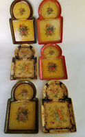 Snack Trays Alcohol Proof Floral Various Designs Japan Lot of 6 Vintage