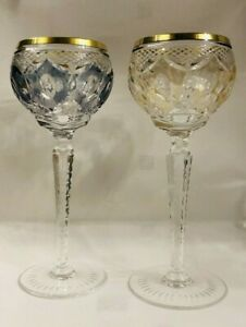 Vtg Pair High Quality Stunning Czech Bohemian Multi Cut to Clear Wine Goblets