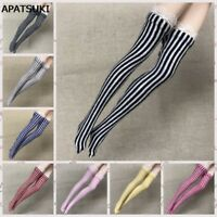 5pairs/lot Zebra Striped Doll Stockings for 1/6 Dolls Elastic Thigh High Socks