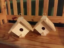 Complete 1 Pair Built Wood Birdhouses-Weather Coated-Hang Hook-Usps-Us Only