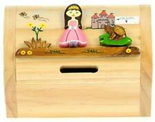 More details for princess money box with secret lock : childrens wooden treasure chest piggy bank