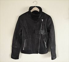Mackage LISA PEBBLE LEATHER ASYMMETRICAL ZIP JACKET Medium IN BLACK NWT/$850