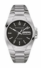 Wittnauer Men's WN3044 Diamond Accents Black Dial Silver-Tone 48mm Watch