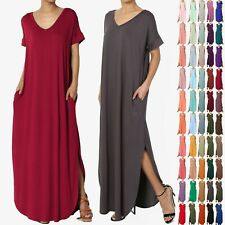 TheMogan Women's Casual Short Sleeve Jersey Relaxed T-Shirt Maxi Long Dress