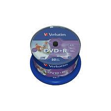 50 VERBATIM DVD+R 4.7GB 16x SPEED PHOTO PRINTABLE in Spindel -No ID-