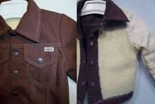 DEADSTOCK Sears Toughskins Denim Jacket Boys Child Dark Brown Fleece Lined 3 Vtg
