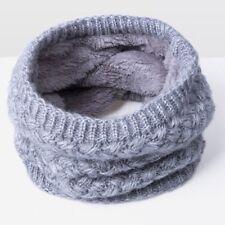 Unisex Men Children Winter Warm Infinity Cable Knitted Neck Velvet Scarf Shawl