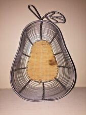 Vintage Pear Apple Weave Metal Wire Wicker Bottom Pier 1 FRUIT Basket 11 x 8""