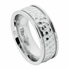 Men's 8mm Titanium Band White Ring Brushed Dimpled Finish Milgrain / Gift box