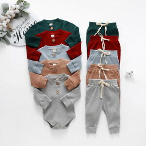 Newborn Baby Girls Boys Long Sleeve Romper Pants 2PCS Clothes Set Ribbed Outfits