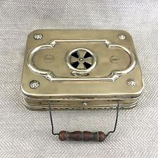 Antique Brass Bed Warming Pan Heater Warmer Coal Box Case Foot Hand