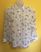 Gorgeous M&S LIMITED EDITION ~Size 18~ Sheer Summer Blouse Top ~ Off White/Blue