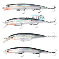 "Fishing Lures Lot 4 Minnow Saltwater 5"" Floating Chrome Surf Striper Mustad Hook"