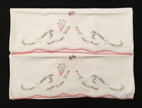 Exquisite Pair Vintage Embroidered Crocheted Pillowcases Bride Bouquet Wedding