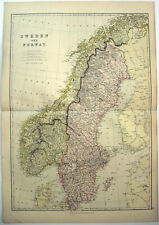 Sweden & Norway - Original 1882 Map by Blackie & Son. Antique
