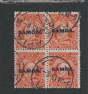 SAMOA 1914-15 1s VERMILION BLOCK OF FOUR GU SG 121 CAT £96