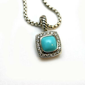 DAVID YURMAN New 7mm Albion Petite Turquoise Necklace Sterling Silver Diamond