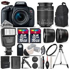 Canon EOS Rebel T7i SLR Camera 800D + 18-55mm STM-3 Lens Kit + Flash+ 32GB + EXT