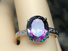 10K YELLOW GOLD AND NATURAL TOPAZ & DIAMOND SOLITAIRE RING  SIZE 6.75 + RING BOX