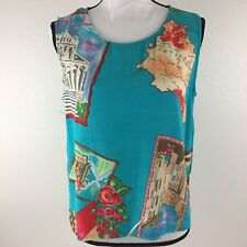 David Dart Collection Womens Size Large Sleeveless Travel Casual Blue Top.  M4