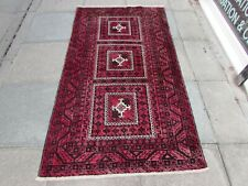 Vintage Hand Made Traditional Rug Oriental Wool Faded Red Pink Rug 205x115cm