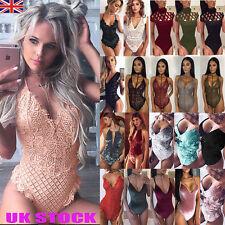 UK Womens Full Lace Lingerie Bodysuit Plunge Jumpsuits Bodycon Leotard Tops