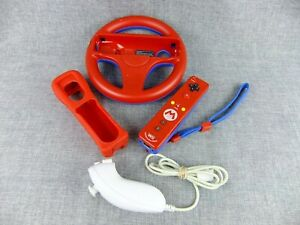 Nintendo Wii Red Mario Controller, Case and Steering Wheel with Nunchuk  Wii