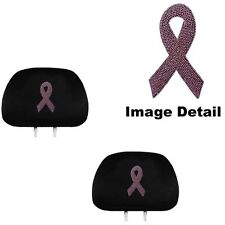 Pink Ribbon Breast Cancer Crystal Studded Rhinestone Headrest Covers Pair