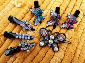 Mixed Bundle x7 Diamante Crystal Butterfly/Star Hair Grip Claw Clamp Metal Clip