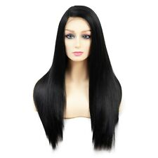 """OneDor 24"""" Kanekalon  Hair 130% Density Straight Lace Front Side Part Long wig"""
