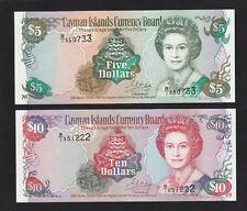 Cayman Islands 5 & 10 Dollars Pair (1996) P17 P18 Queen UNC