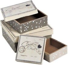 Set of 3 Vintage French 'Cafe de Paris' Cream/Dark Green Practical Storage Boxes