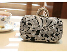 Fashion Women Bridal Crystal Ring Knuckle Lace Evening Clutch Bag Handbags Purse