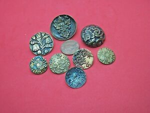 Lot Antique Stamped Brass Buttons