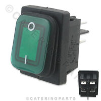 SW22 GREEN ILLUMINATED 16 AMP WATERPROOF ON OFF MAINS POWER SWITCH 30mm x 22mm