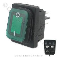 SW22 Verde Illuminato 16 Amp Impermeabile su OFF Alimentazione Interruttore di alimentazione 30 mm x 22 mm