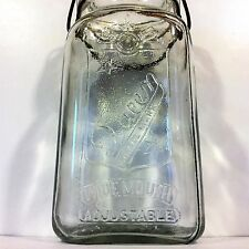 Vtg Antique SKO Wide Mouth QUEEN Clear Glass QUART MASON JAR w/LID~Wire BAIL