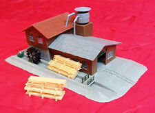 N Scale - Lumber Saw Mill & Water Wheel (KIT BUILT by Papa) LOT # 46