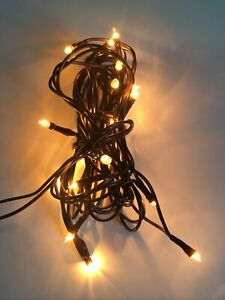 20ct Count Teeny Tiny Rice Light Set String Brown Wire Cord Primitive Craft Farm