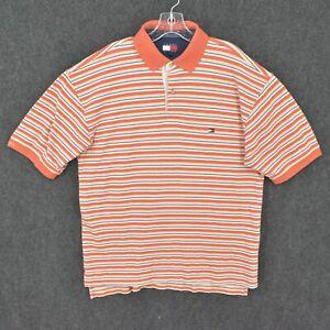 Tommy Hilfiger Polo Shirt Adult L Large Orange Striped Vintage Flag Logo Retro