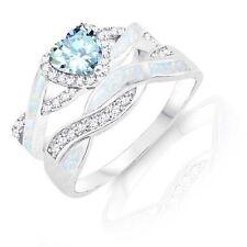 Aquamarine Heart Infinity Celtic White Opal w CZ Engagement Silver Ring Set