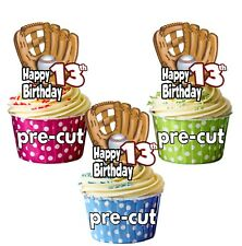 PRECUT Baseball Glove 12 Cup Cake Toppers Birthday Decorations ANY AGE 1 to 115