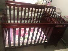 Dream On Me Jayden 4-in-1 Mini Convertible Crib And Changer Cherry