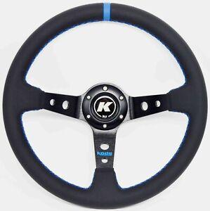 KODE-350mm Deep Dish Leather Steering Wheel Blue Stitch Fit 6x70mm PCD Boss Kit