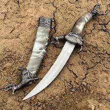 "14""Mongolian Dagger Grey Color with Sheath - Historical Mongol Dagger"