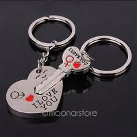 """1 Set Keychain Keyring Couple Lover Heart Key """"I Love You"""" Style for Lovers New"""
